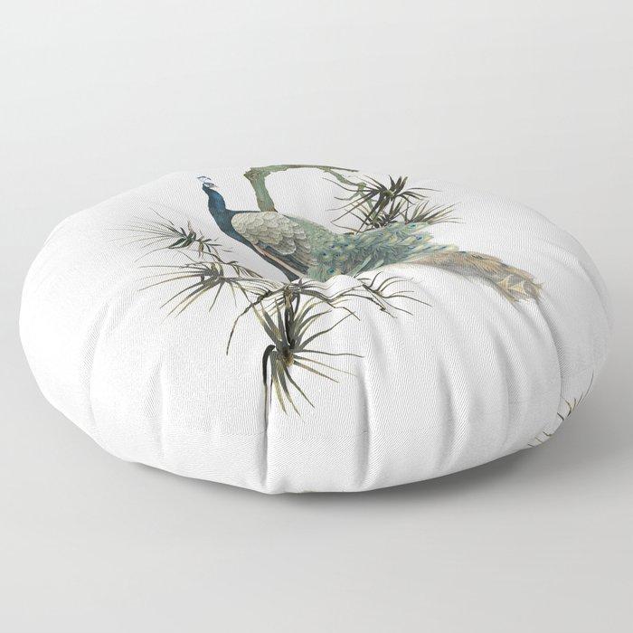 Turquoise Peacock Floor Pillow
