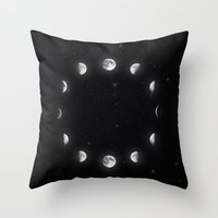 moon phases Throw Pillows featuring Moon Phases by KittyBitty