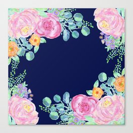 light pink peonies with navy background Canvas Print
