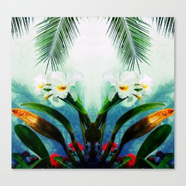 Tropical Orchids and Palm Leaves Canvas Print