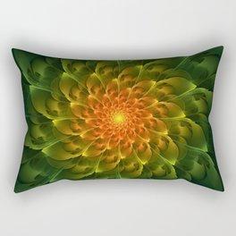 Beautiful Orange-Green Desert BarrelCactus Spiral Rectangular Pillow
