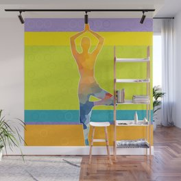 Simple silhouette of woman doing yoga Wall Mural
