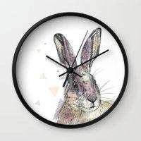 hare Wall Clocks featuring Hare by Anya Raczka
