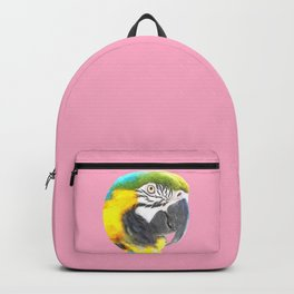 Macaw Portrait Pink Background Backpack