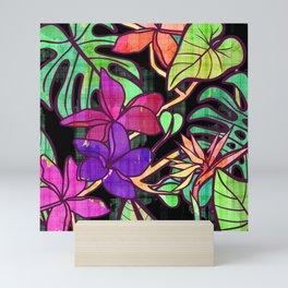 Tropical leaves and flowers, jungle print Mini Art Print