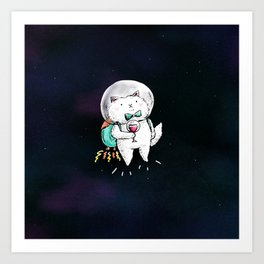 Space Kitty - Wine Time Art Print