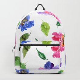Blue, pink flowers. Watercolor florals. Botany. Backpack