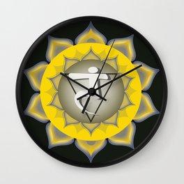 Solar Plexus Chakra on black Wall Clock