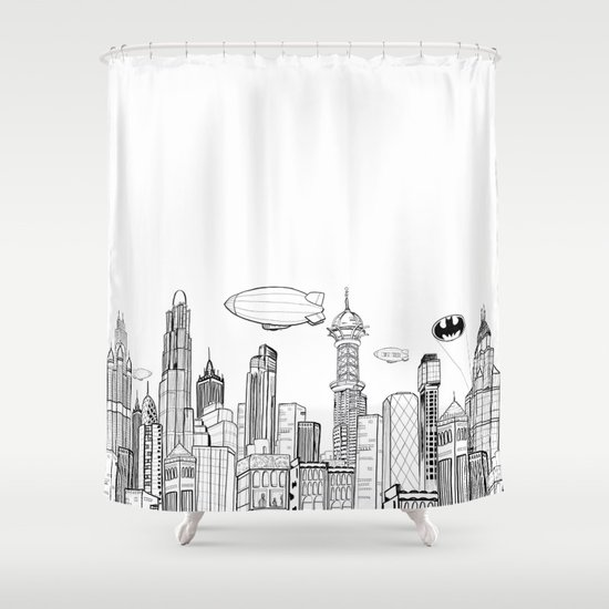 gotham city skyline shower curtainchar oden | society6