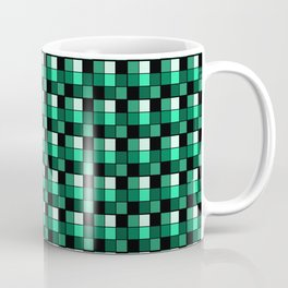 Emerald Ring Blocks, Checkered Pattern - Jade Coffee Mug