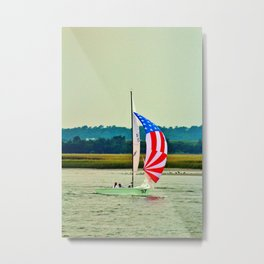 US Flag Sailboat Metal Print