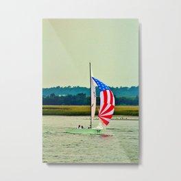 US Flag Sailboat Metal Print