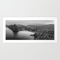 Black and White Lugano - Switzerland Art Print