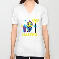 skeletor V-neck T-shirts featuring SKELETOR by Maioriz Home