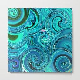 Aqua twists Metal Print