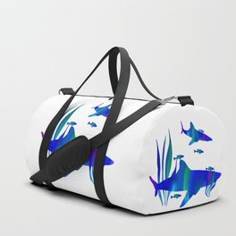 Sharks swimming with fish Duffle Bag