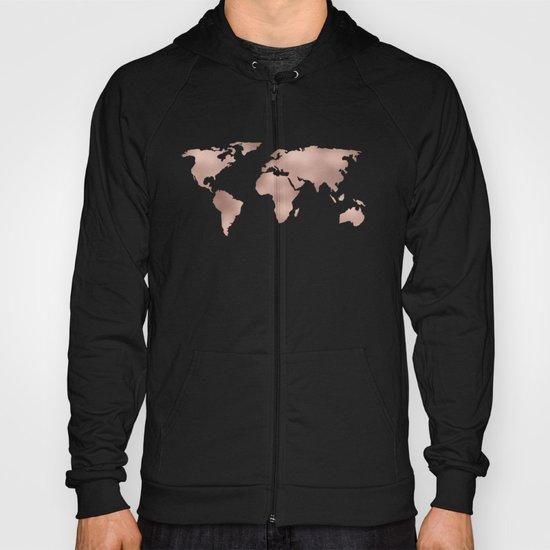 World Map Rose Gold Shimmer Hoody