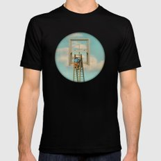 Window cleaner in the sky 02 Mens Fitted Tee Black LARGE