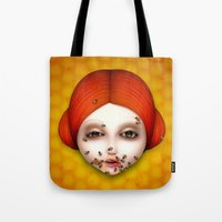 misfits Tote Bags featuring Misfits - Beatrice by Raymond Sepulveda