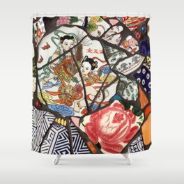 Mosaic with Asian plates Shower Curtain