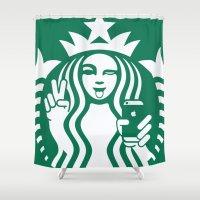 starbucks Shower Curtains featuring Selfie - 'Starbucks ICONS' by Alejo Malia