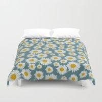 daisies Duvet Covers featuring daisies by kociara