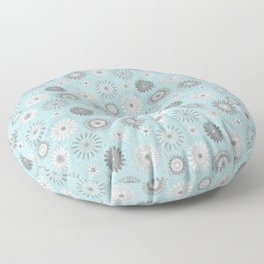 Sky Blue Pressed Country Flowers Pattern Design Floor Pillow