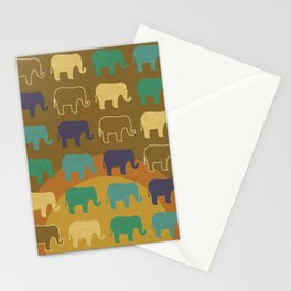 Elephants- Trippy Digital Illustration Art Print Stationery Cards