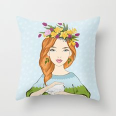 Spring girl Throw Pillow