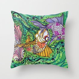 Three Little Fish Throw Pillow