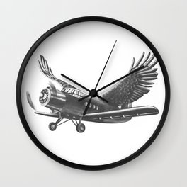Airplane with eagle wings Wall Clock