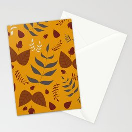 Autumn leaves and acorns - ochre and brown Stationery Cards