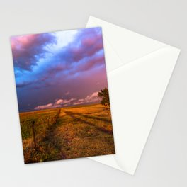 Far and Away - Lone Tree Under Colorful Sky in Oklahoma Panhandle Stationery Cards