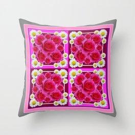 Fuchsia Rose Bouquet Garden Shasta Daisies Art Panels Grey Abstract Throw Pillow