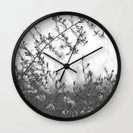Wild Asters Botanical BW Wall Clock