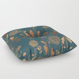 Art Deco Copper Flowers  Floor Pillow