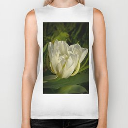 Double White Tulip by Teresa Thompson Biker Tank