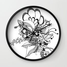 Floral Zoodles Wall Clock