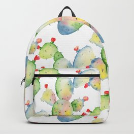 Modern hand painted pink green watercolor cactus floral Backpack