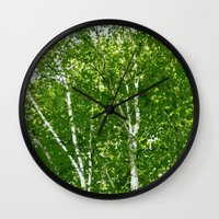 birch Wall Clocks featuring Birch Trees by Tru Images Photo Art