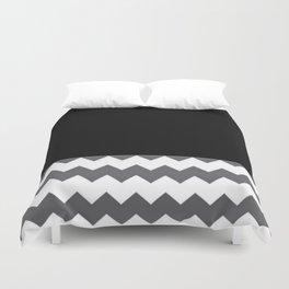 Chevron Gray Black And White - Glamour Duvet Cover