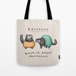 Raccoons Wearing Baggy Pantaloons Tote Bag
