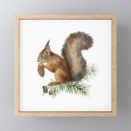Festive, Watercolor, Woodland Squirrel Framed Mini Art Print