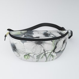 Watercolor Anemones with abstract background Fanny Pack