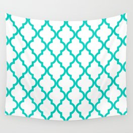 Aqua Moroccan Quatrefoil Pattern Wall Tapestry
