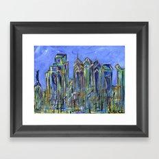 Blue Philadelphia Skyline Framed Art Print