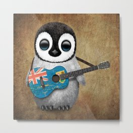 Baby Penguin Playing Turks and Caicos Flag Guitar Metal Print