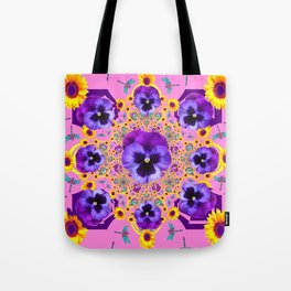 PURPLE PANSIES YELLOW FLOWERS PINK GARDEN Tote Bag