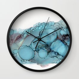 Teal Bubble Alcohol Ink Painting Wall Clock