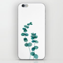 green eucalyptus watercolor iPhone Skin